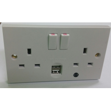 DOUBLE MAINS SOCKET WiFi CAMERA with 2 fully working USB charging inputs